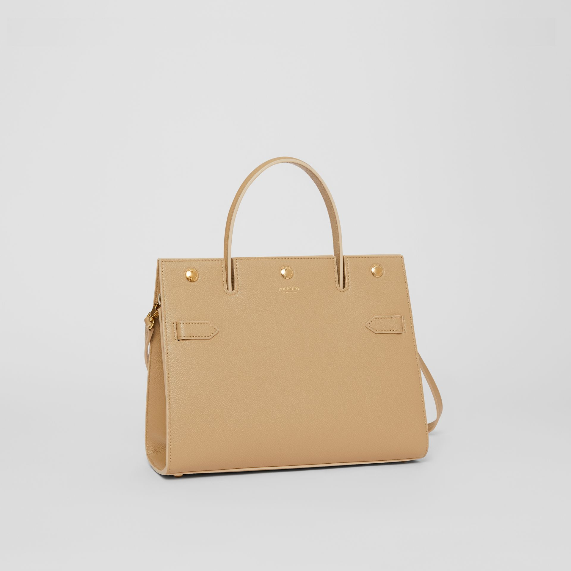 Small Leather Title Bag in Honey - Women | Burberry - gallery image 6