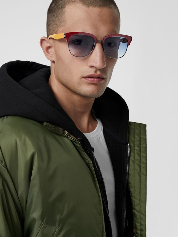 Check Detail D-frame Sunglasses in Burgundy - Men | Burberry - cell image 3