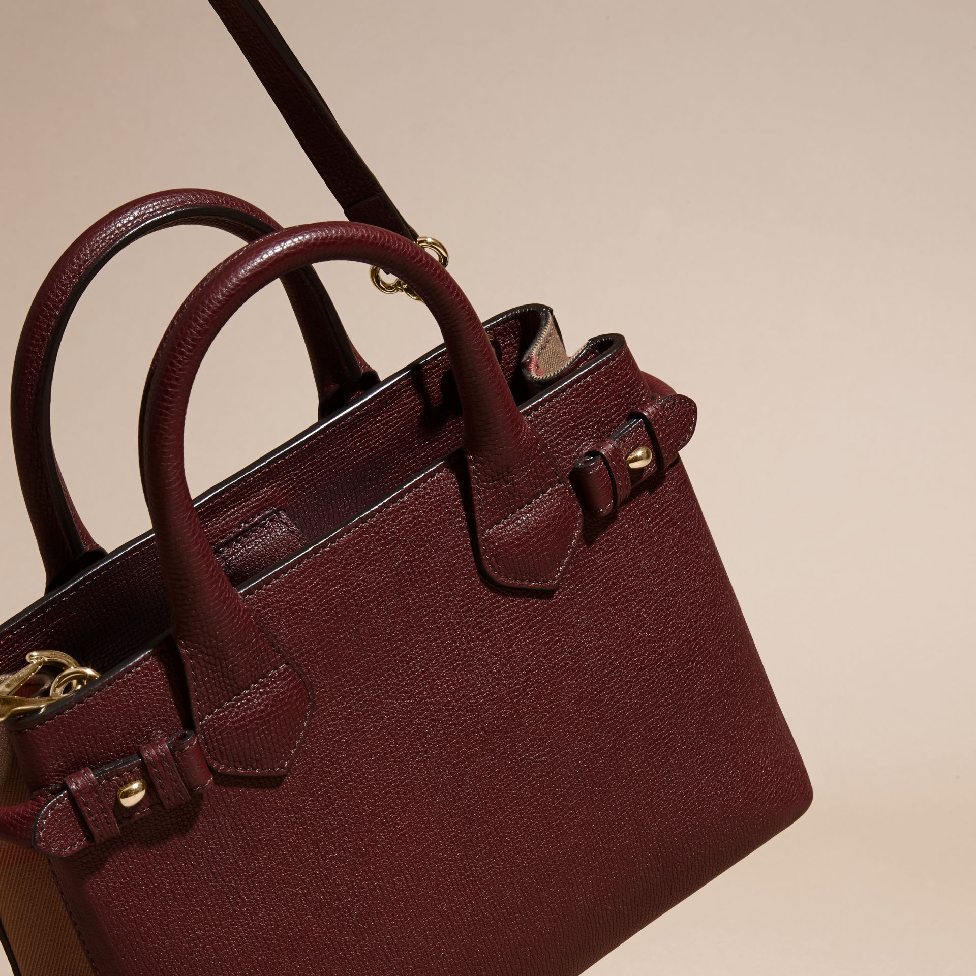 The Small Banner in Leather and House Check in Mahogany Red - Women | Burberry Singapore - gallery image 5