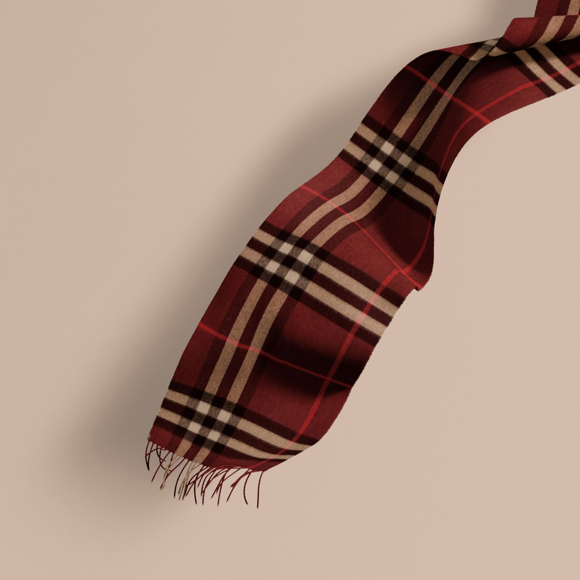 The Classic Cashmere Scarf in Check in Claret | Burberry - gallery image 1