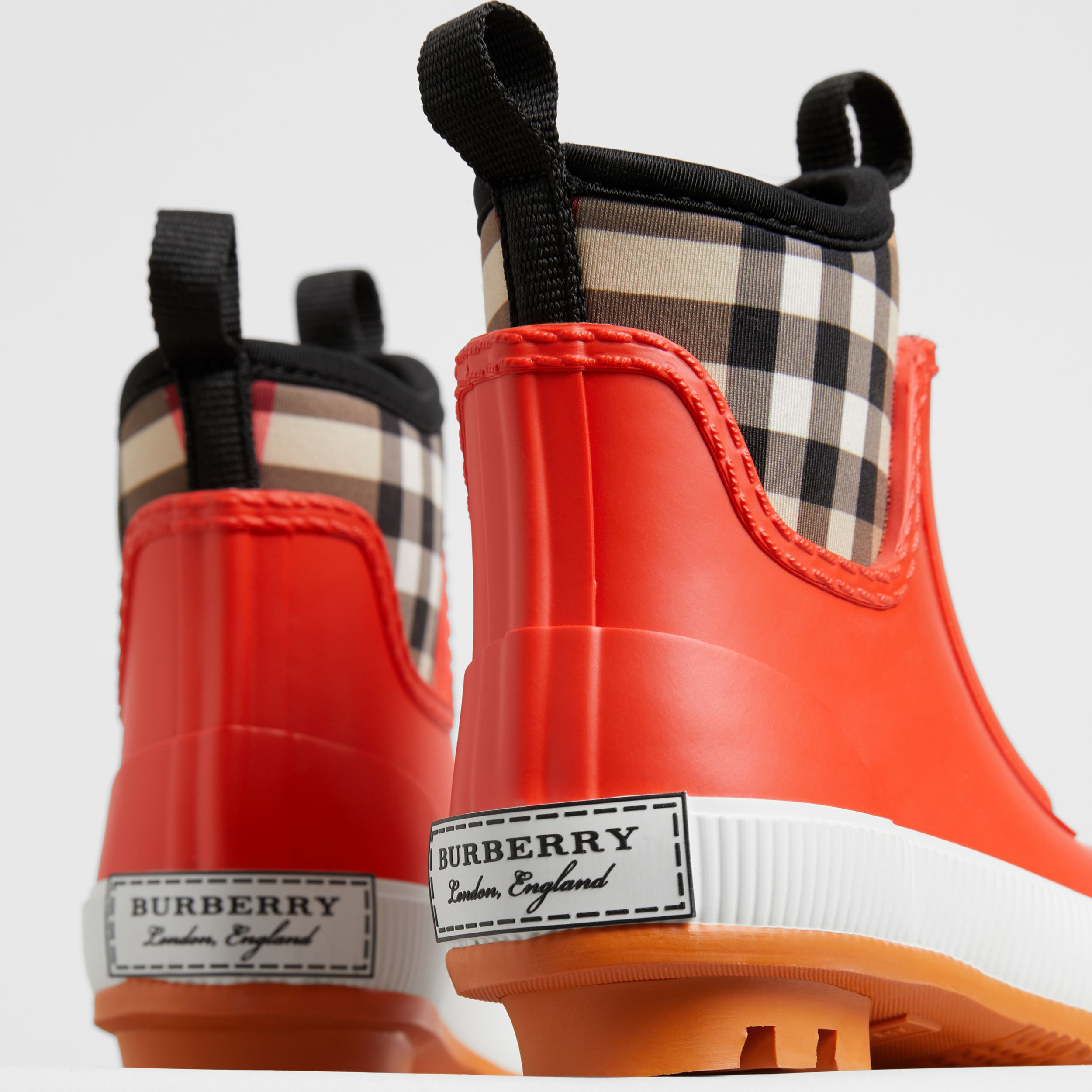 Vintage Check Neoprene and Rubber Rain Boots in Bright Red - Children | Burberry Canada - 2