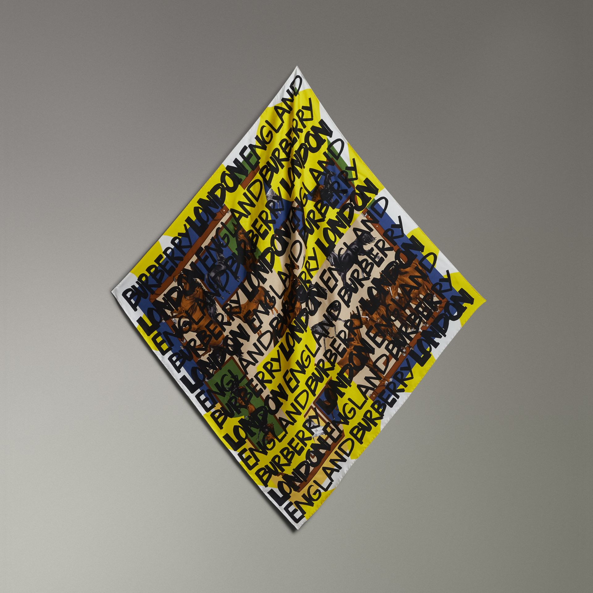 Graffiti Archive Scarf Print Silk Square Scarf in Bright Yellow | Burberry Singapore - gallery image 0