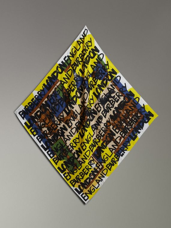 Graffiti Archive Scarf Print Silk Square Scarf in Bright Yellow