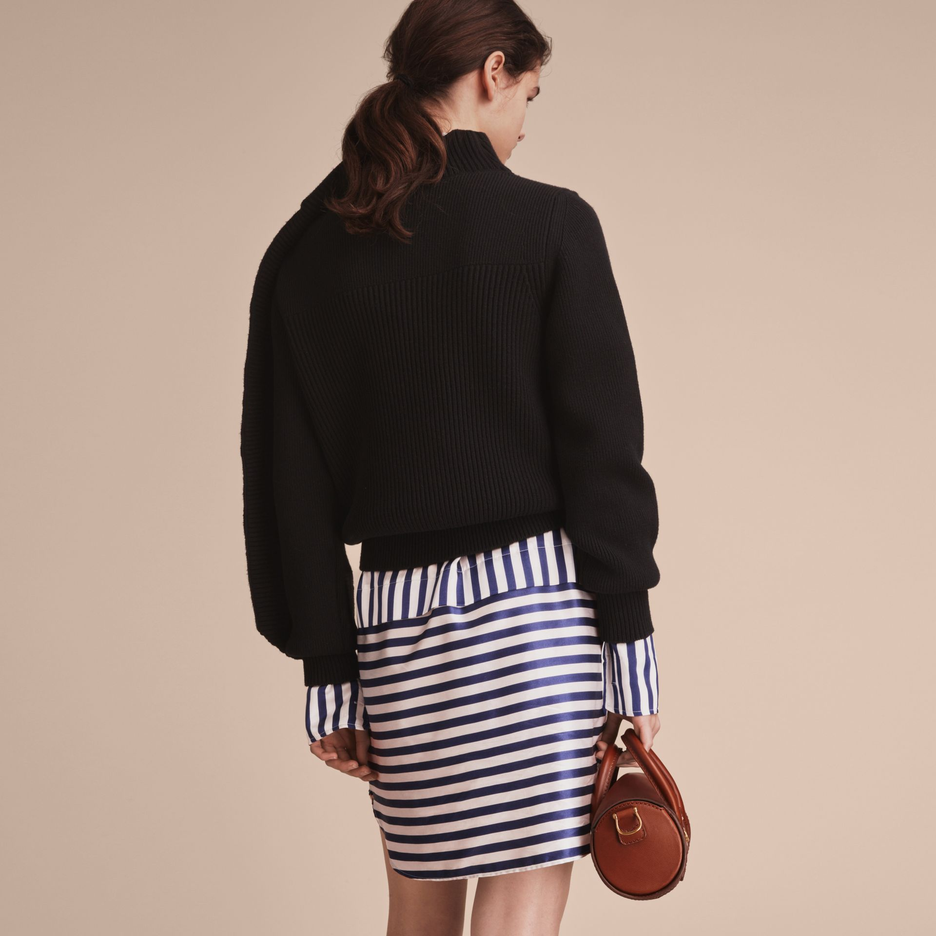 Asymmetric Rib Knit Wool Cashmere Sweater - Women | Burberry - gallery image 3