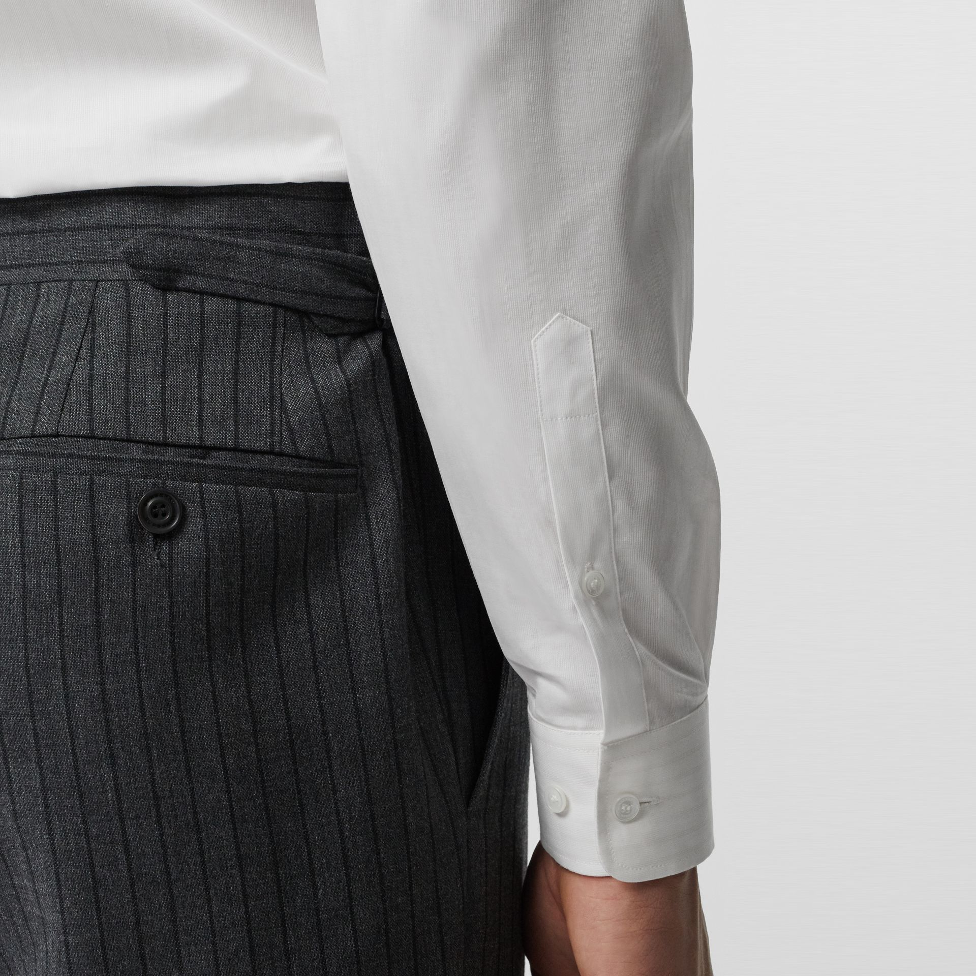 Classic Fit Pinstriped Wool Tailored Trousers in Mid Grey Melange - Men | Burberry United Kingdom - gallery image 1
