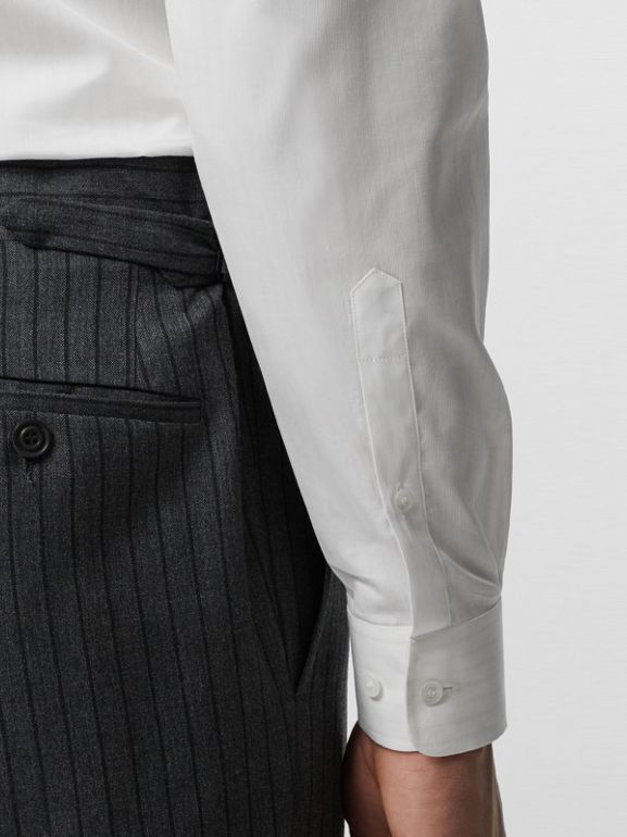 Classic Fit Pinstriped Wool Tailored Trousers in Mid Grey Melange - Men | Burberry United Kingdom - cell image 1
