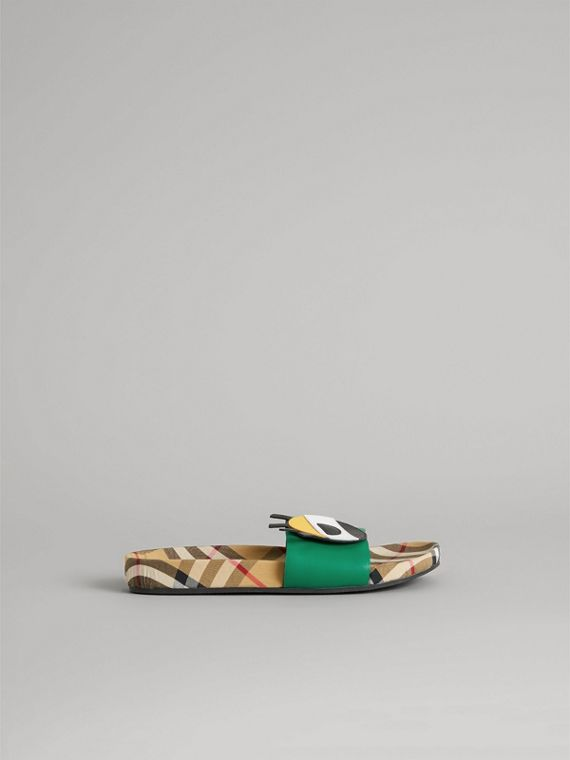 Eye Appliqué Vintage Check and Leather Slides in Bright Pigment Green | Burberry - cell image 3
