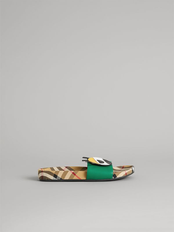 Eye Appliqué Vintage Check and Leather Slides in Bright Pigment Green | Burberry Hong Kong - cell image 3