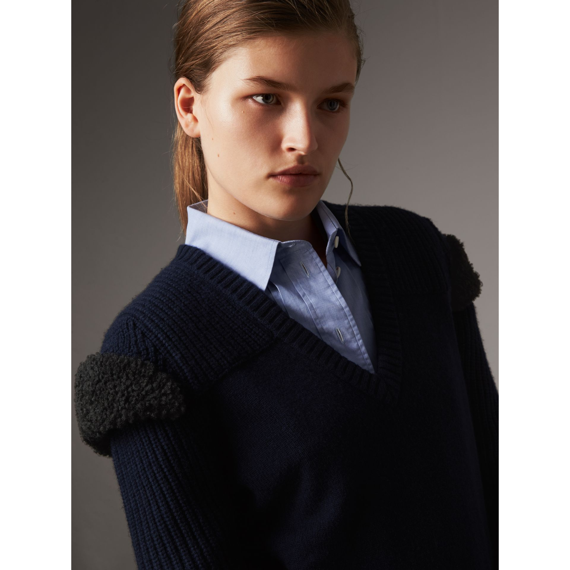 Shearling Trim Ribbed Wool Cashmere Sweater in Navy - Women | Burberry - gallery image 2