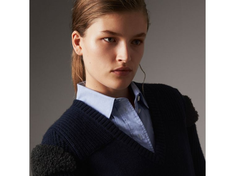 Shearling Trim Ribbed Wool Cashmere Sweater in Navy - Women | Burberry - cell image 1