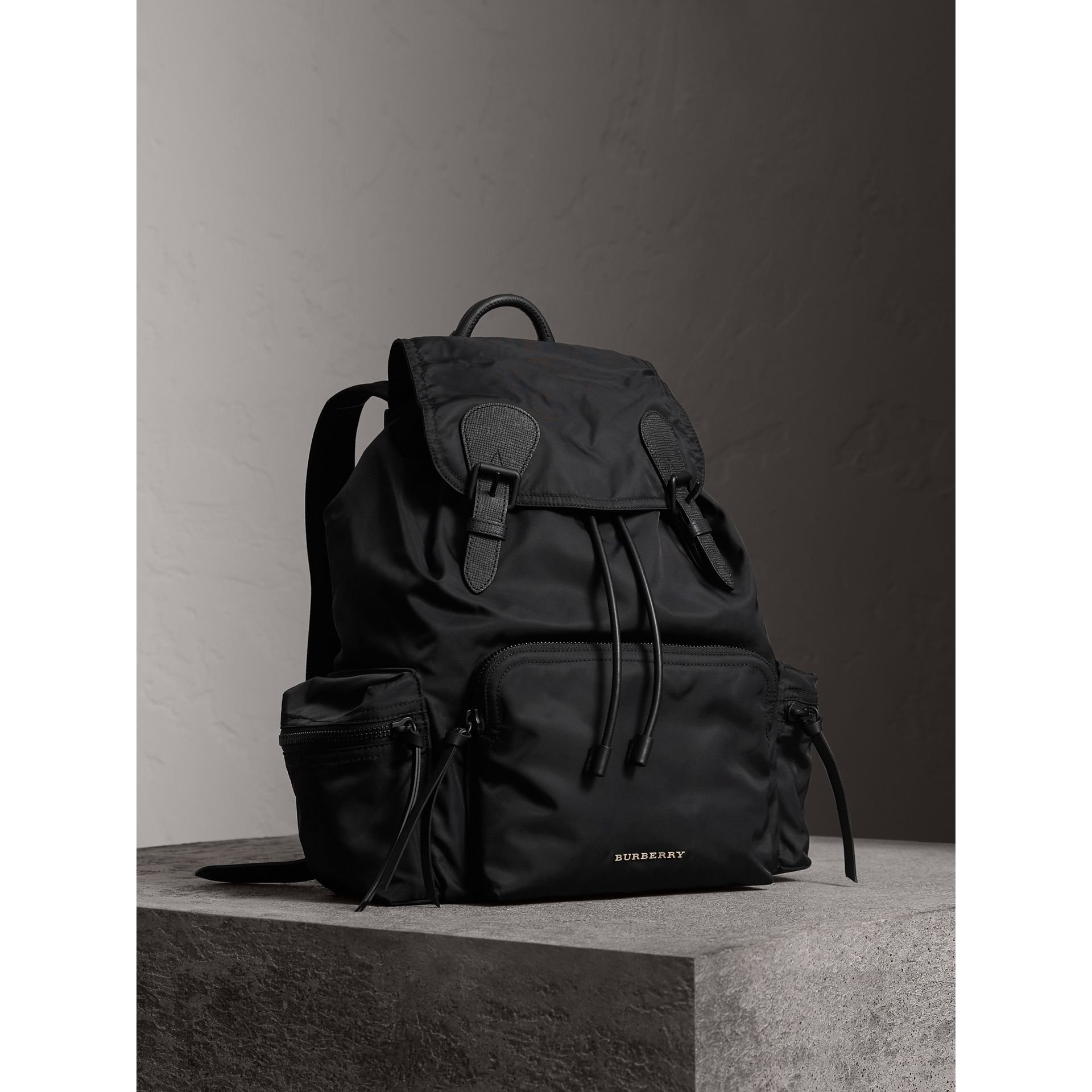 The Large Rucksack in Technical Nylon and Leather in Black - Men | Burberry Canada - gallery image 0