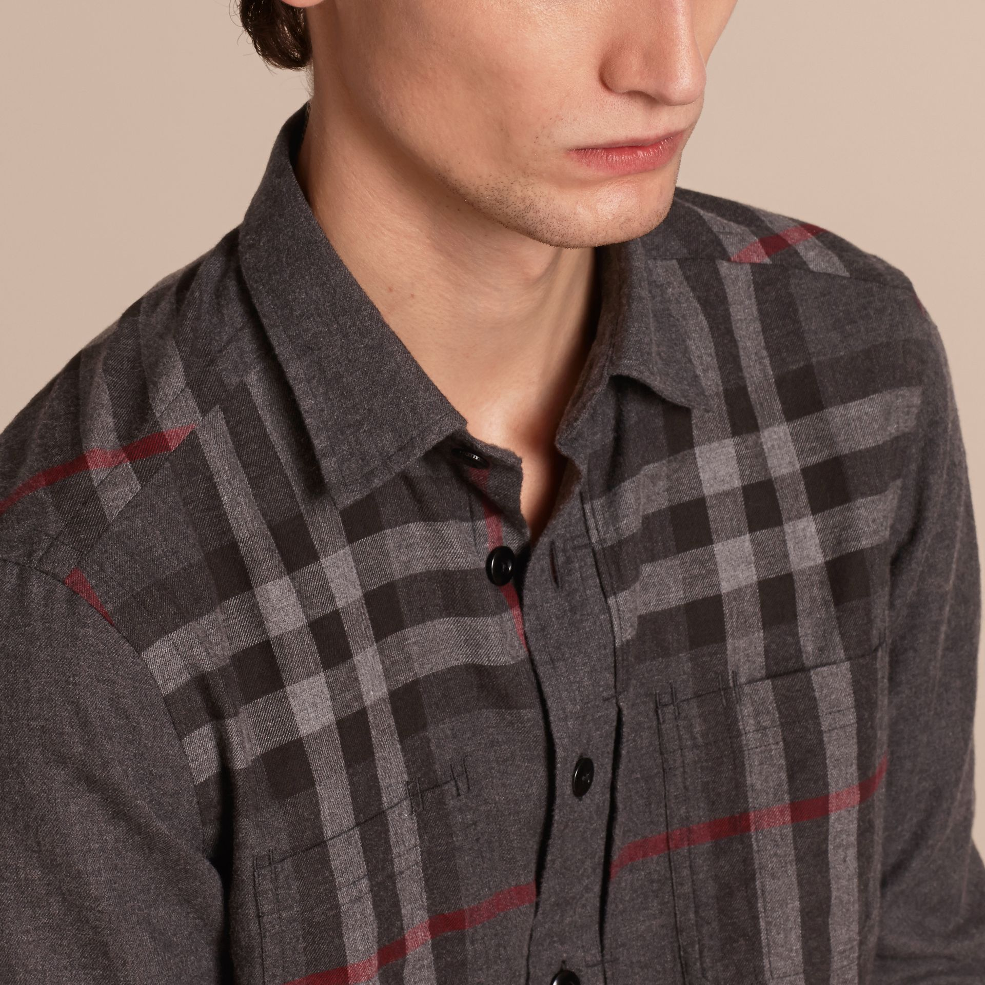 Charcoal melange Check Detail Cotton Flannel Shirt Charcoal Melange - gallery image 5