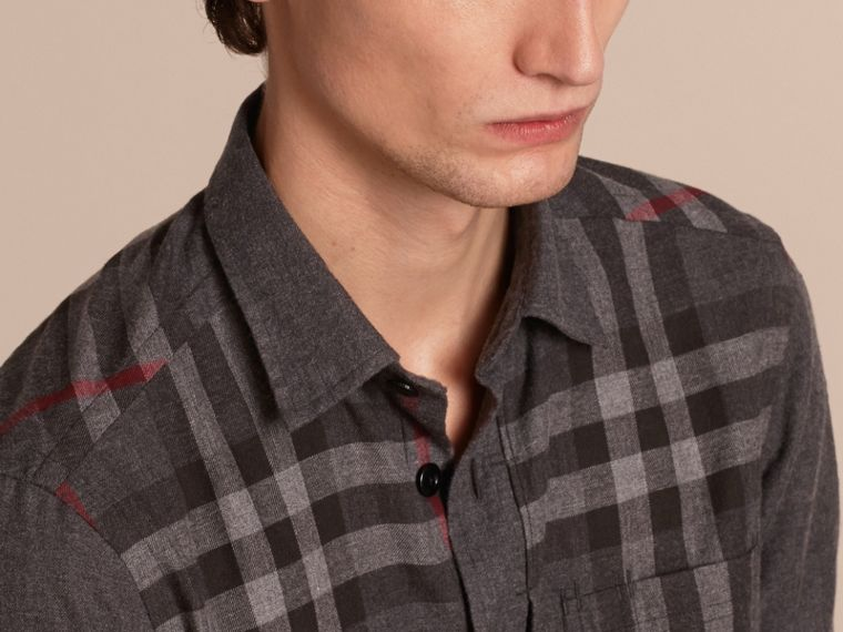 Charcoal melange Check Detail Cotton Flannel Shirt Charcoal Melange - cell image 4