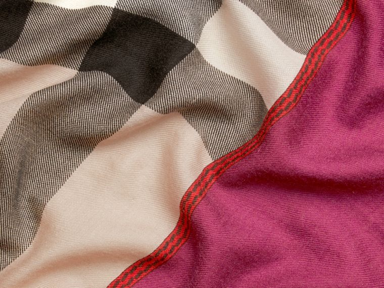 Magenta pink Contrast Border Horseferry Check Cashmere Scarf Magenta Pink - cell image 1