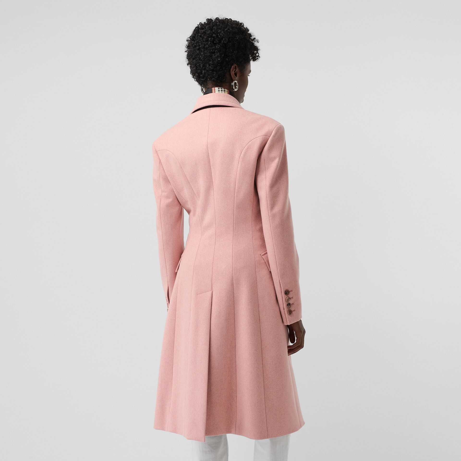 Double-breasted Wool Tailored Coat in Apricot Pink Melange - Women | Burberry United Kingdom - gallery image 2