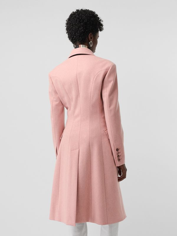 Double-breasted Wool Tailored Coat in Apricot Pink Melange - Women | Burberry United Kingdom - cell image 2