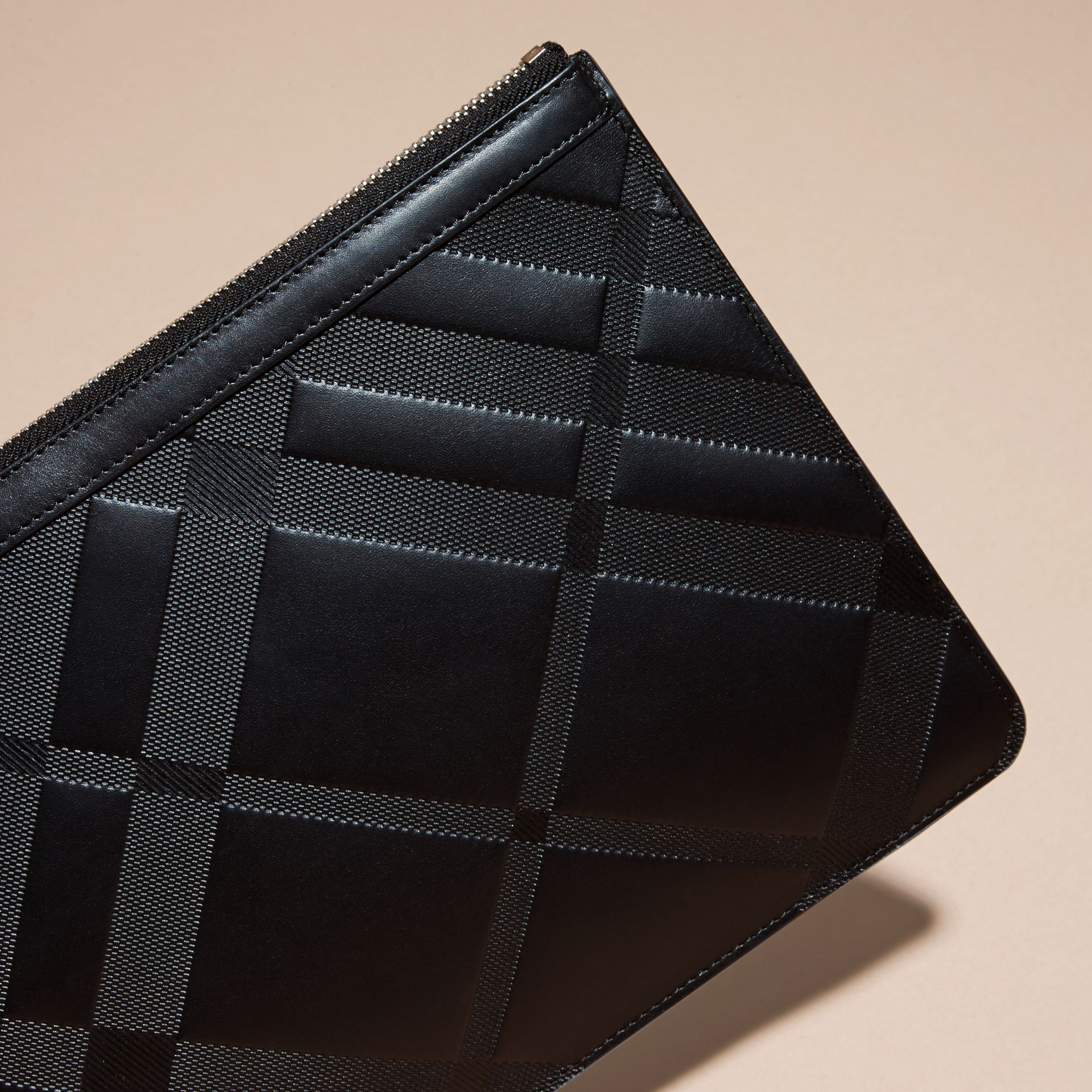 Black Check-embossed Leather Pouch Black - gallery image 3