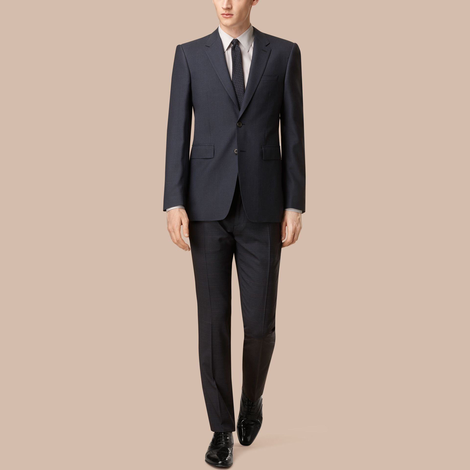 Modern Fit Wool Cashmere Microcheck Part-canvas Suit - gallery image 1