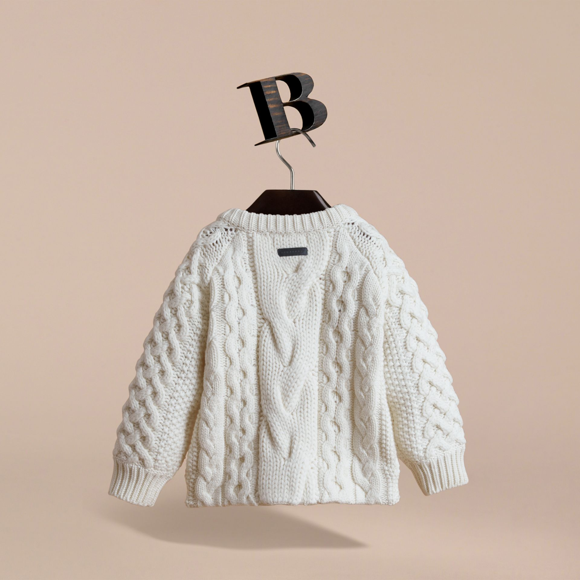 Cable Knit Wool Cashmere Cardigan in Natural White | Burberry - gallery image 4