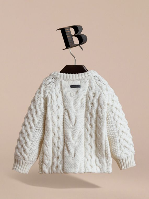 Cable Knit Wool Cashmere Cardigan in Natural White | Burberry - cell image 3
