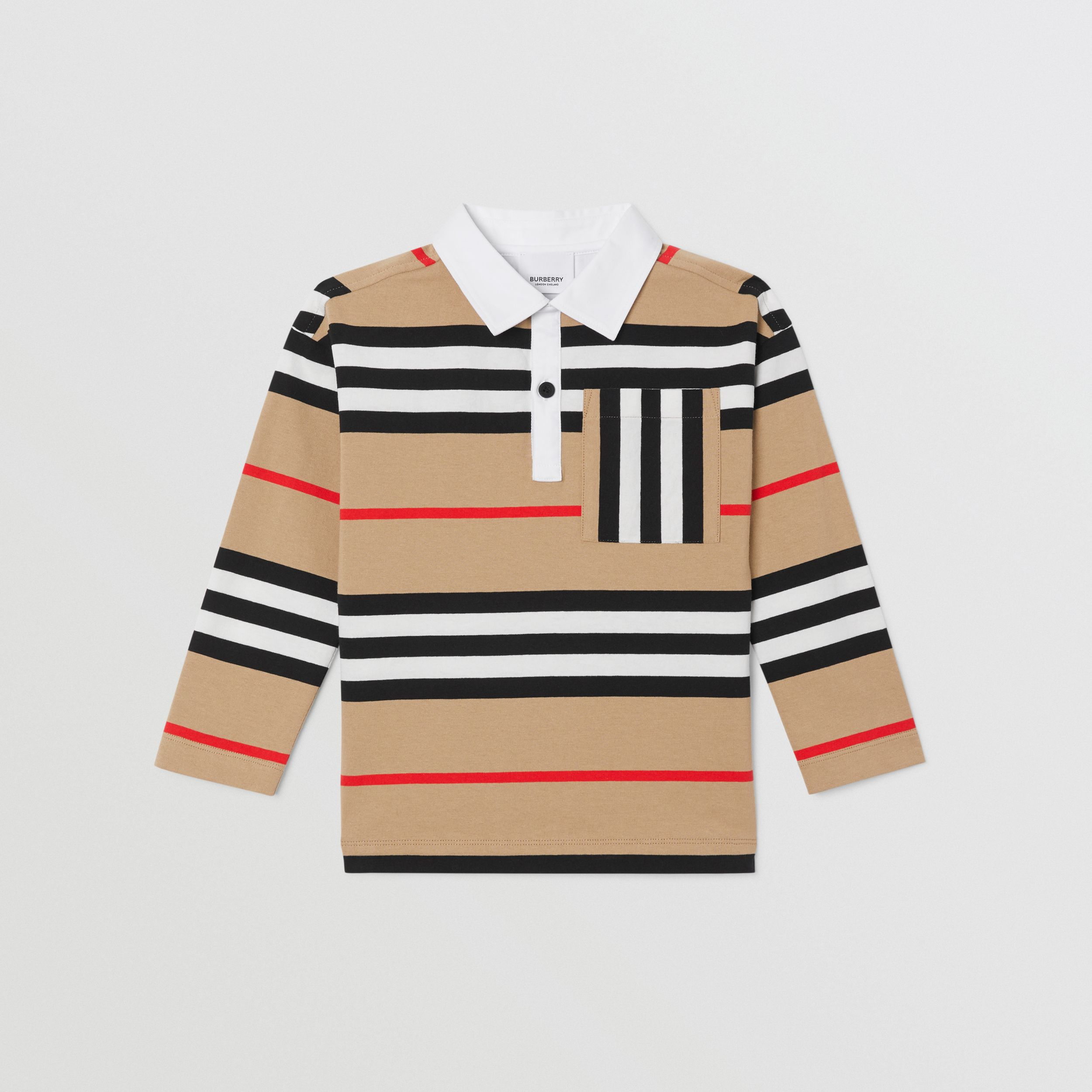 Long-sleeve Icon Stripe Cotton Top in Archive Beige | Burberry - 1