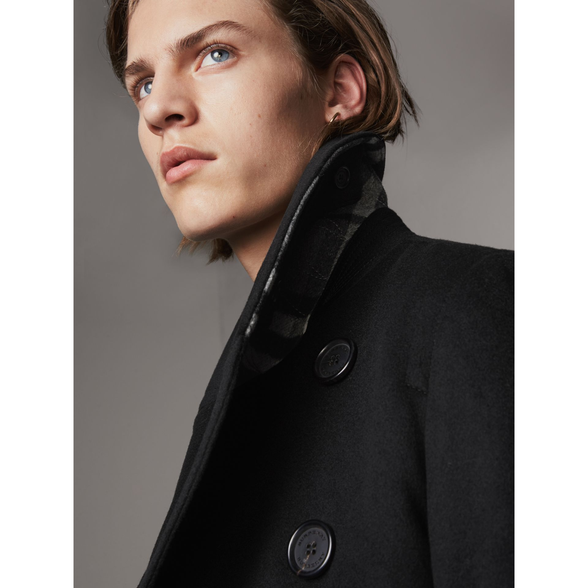 Wool Cashmere Pea Coat in Black - Men | Burberry - gallery image 2