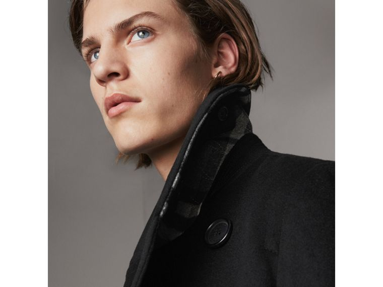 Wool Cashmere Pea Coat in Black - Men | Burberry Singapore - cell image 1