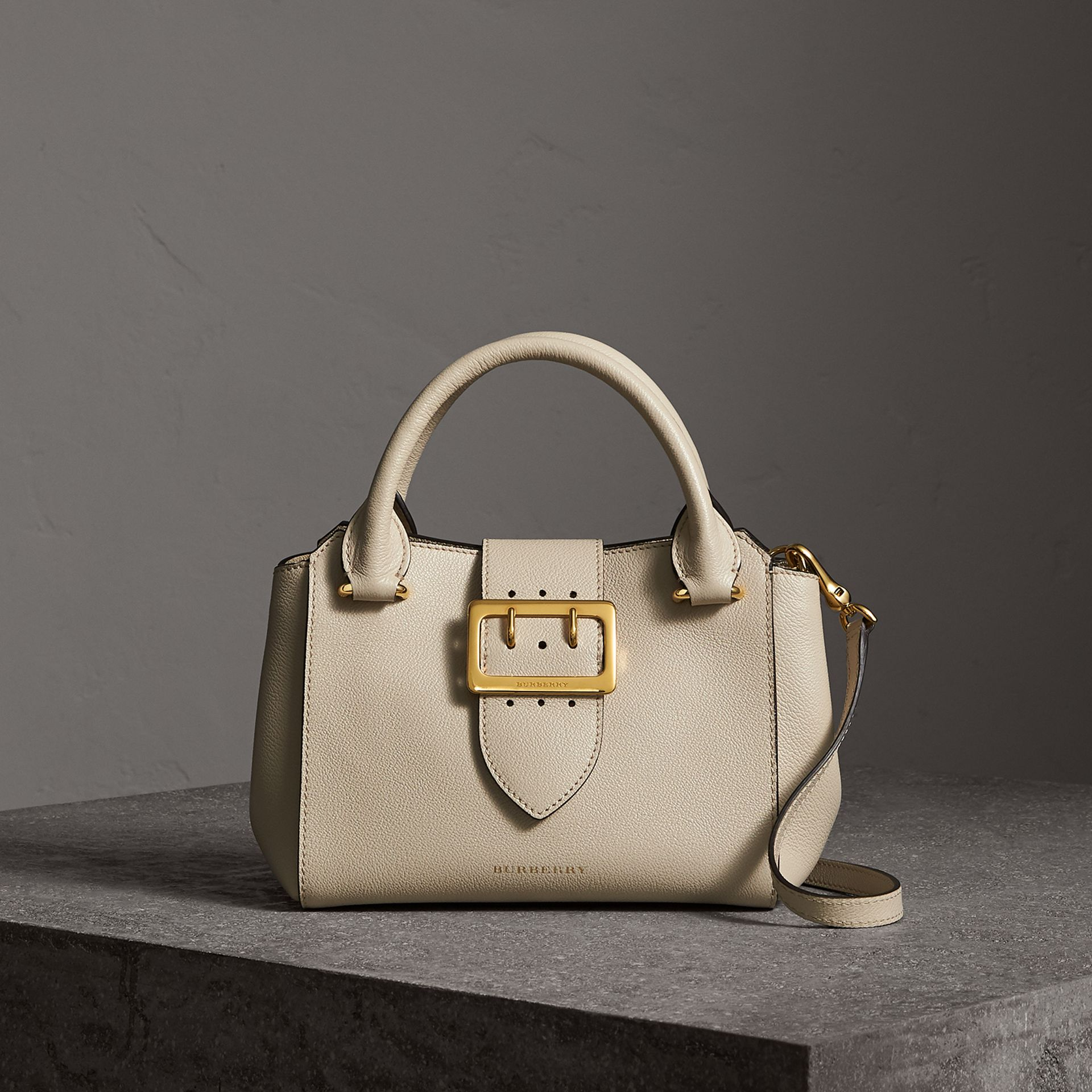 The Small Buckle Tote in Grainy Leather in Limestone - Women | Burberry - gallery image 0