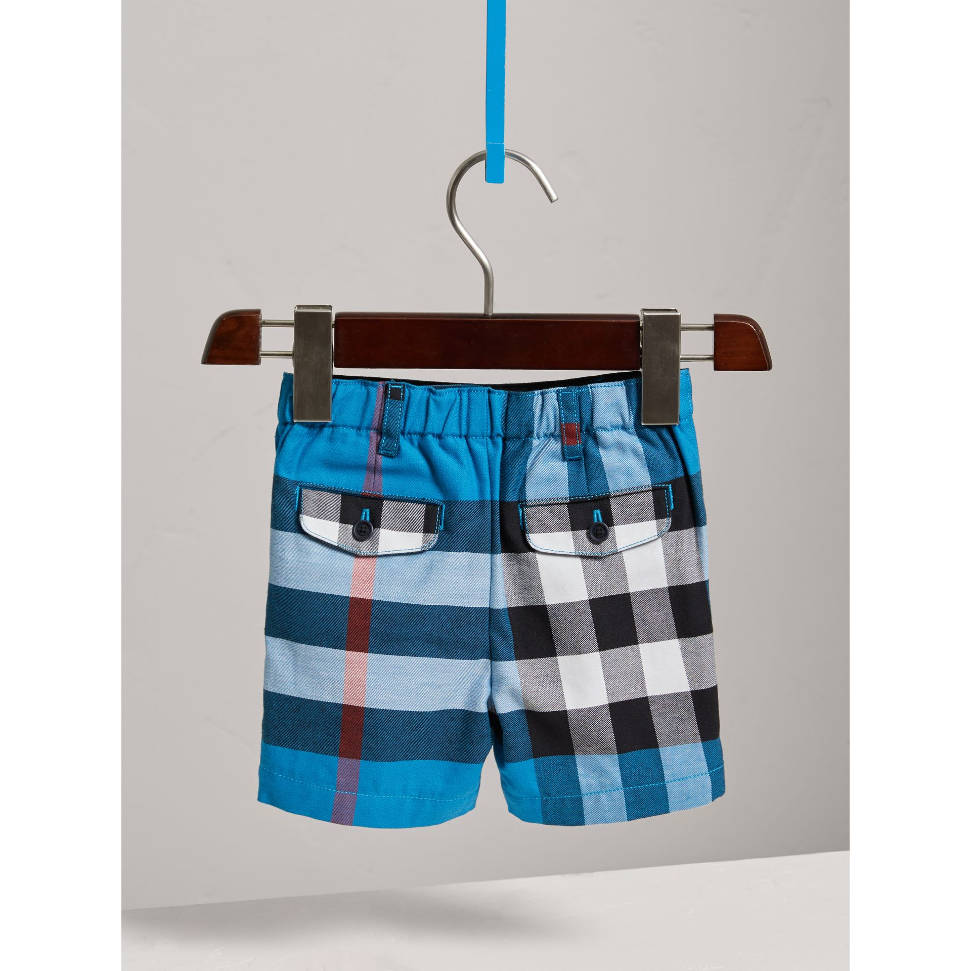 Check Cotton Chino Shorts in Azure Blue | Burberry - gallery image 3