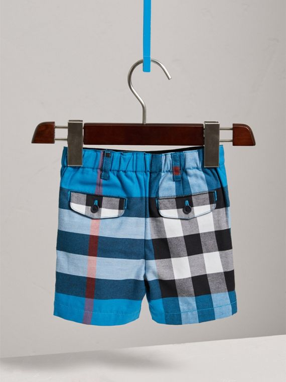 Check Cotton Chino Shorts in Azure Blue | Burberry - cell image 3