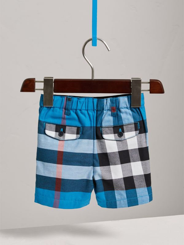 Check Cotton Chino Shorts in Azure Blue | Burberry United Kingdom - cell image 3