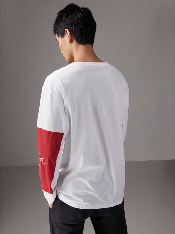 Burberry x Kris Wu Long-sleeve Printed Cotton Top in White - Men | Burberry United Kingdom - cell image 2