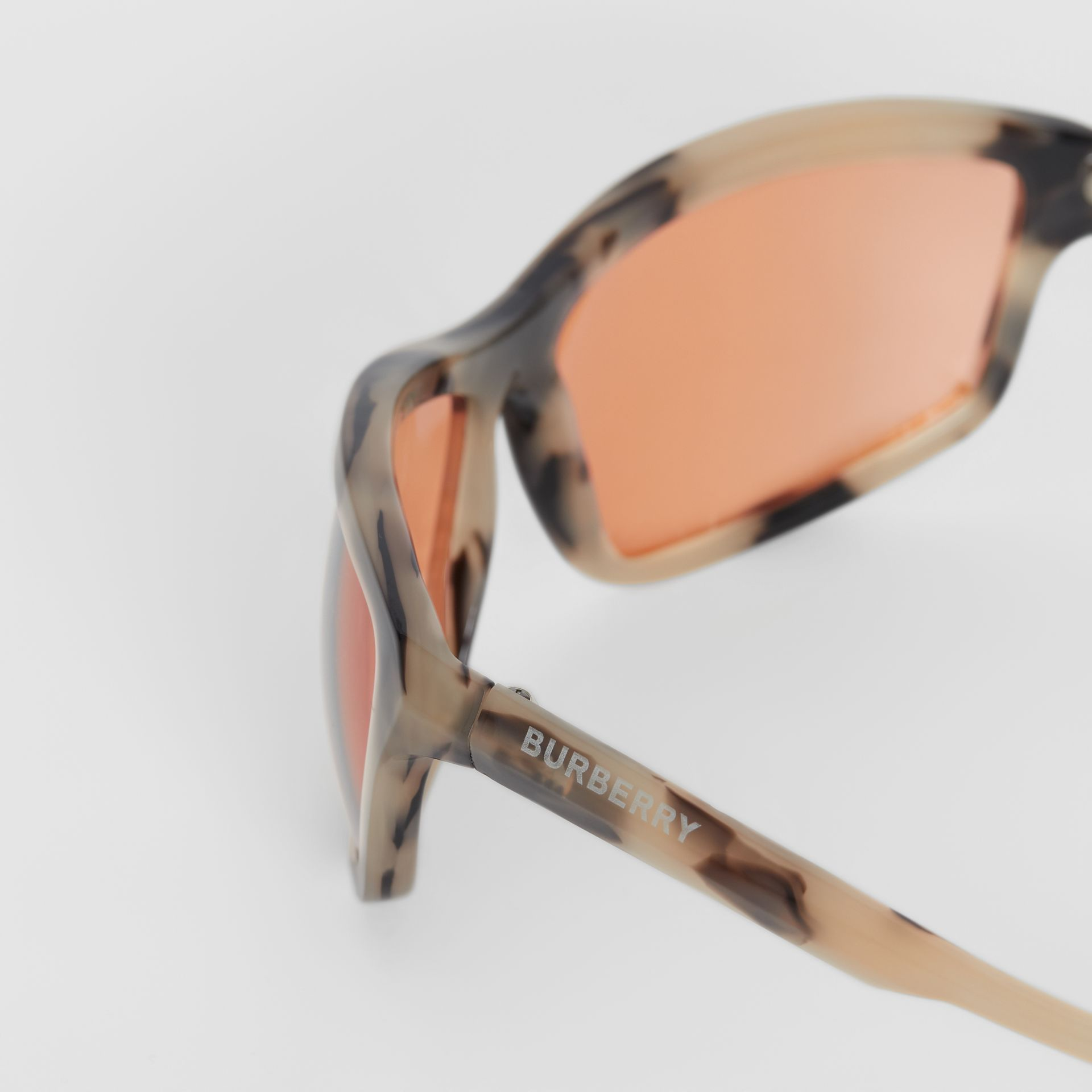 Wrap Frame Sunglasses in Orange - Men | Burberry Singapore - gallery image 1