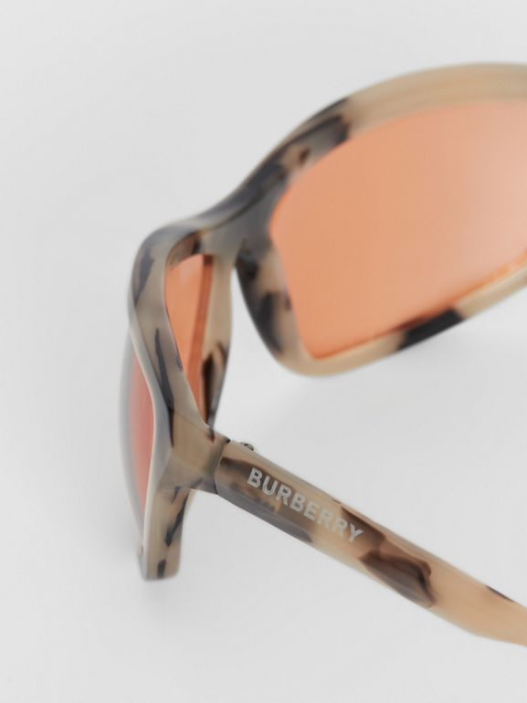 Wrap Frame Sunglasses in Orange - Men | Burberry Singapore - cell image 1