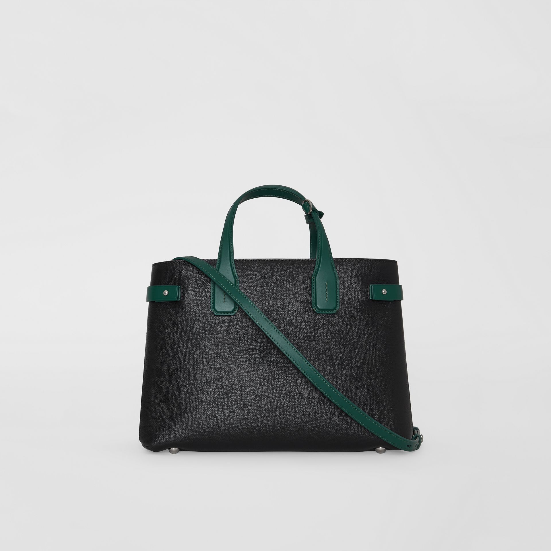 The Medium Banner in Two-tone Leather in Black/sea Green - Women | Burberry United States - gallery image 7