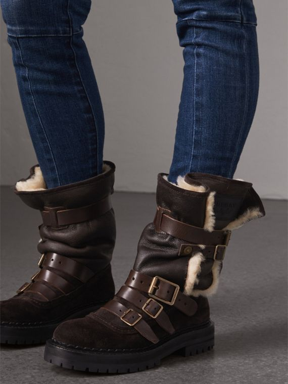 Buckle Detail Shearling and Suede Boots in Charcoal Brown - Women | Burberry - cell image 2