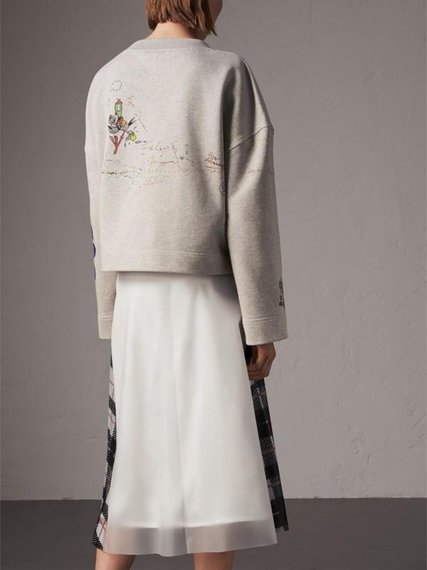 Suéter de algodão com estampa de desenhos (Cinza Claro Mesclado) - Mulheres | Burberry - cell image 2