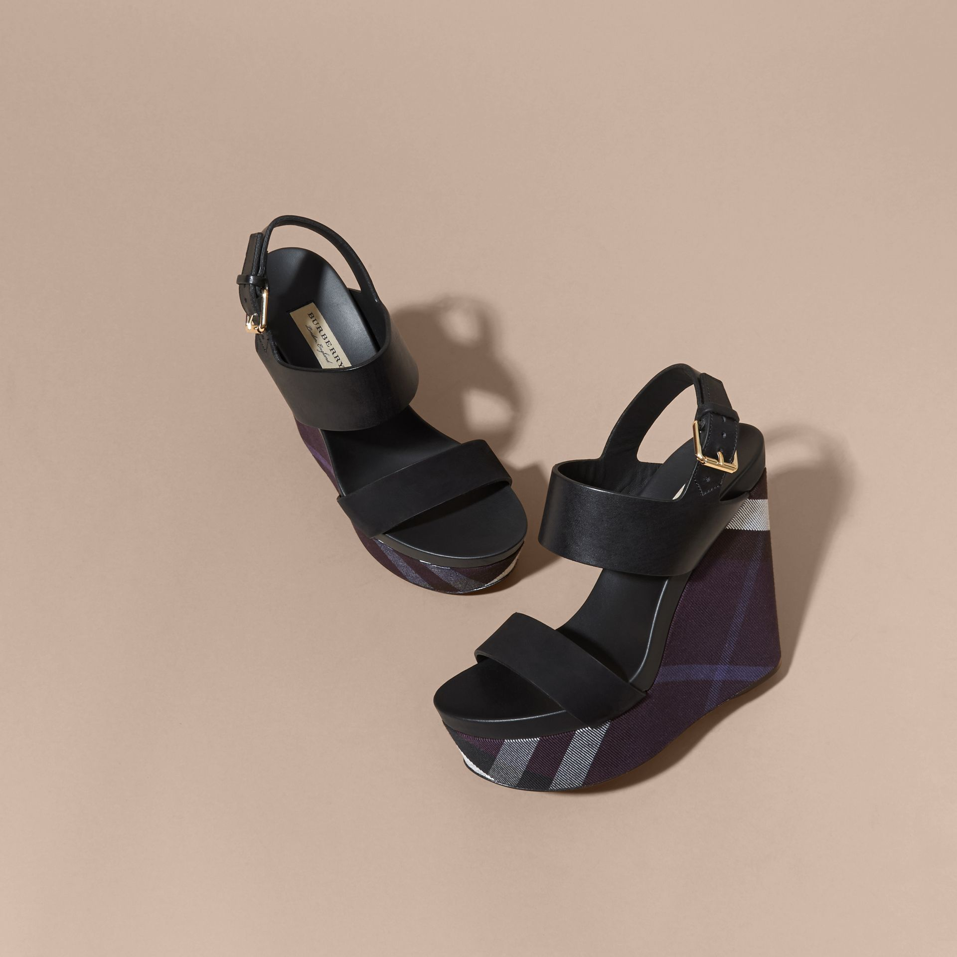 House Check Leather and Calf Suede Platform Wedges Indigo Blue - gallery image 3