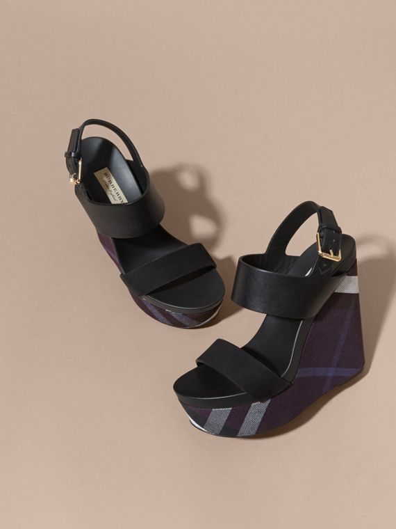 House Check Leather and Calf Suede Platform Wedges - cell image 2