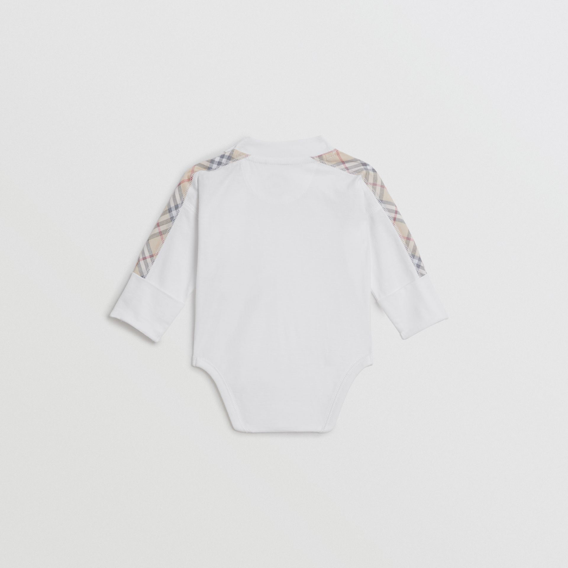 Check Cotton Three-piece Baby Gift Set in White - Children | Burberry - gallery image 3