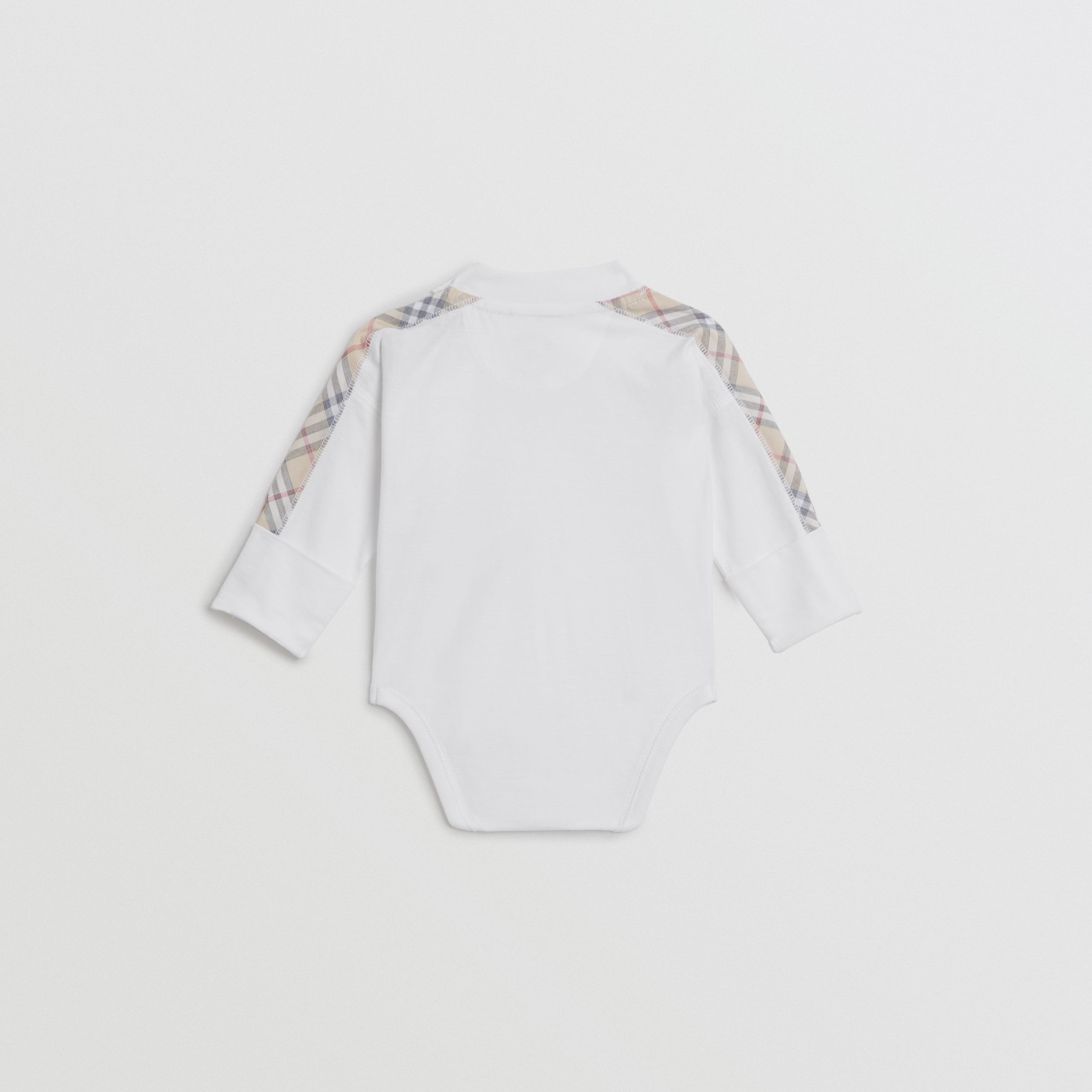 Check Cotton Three-piece Baby Gift Set in White - Children | Burberry - 4