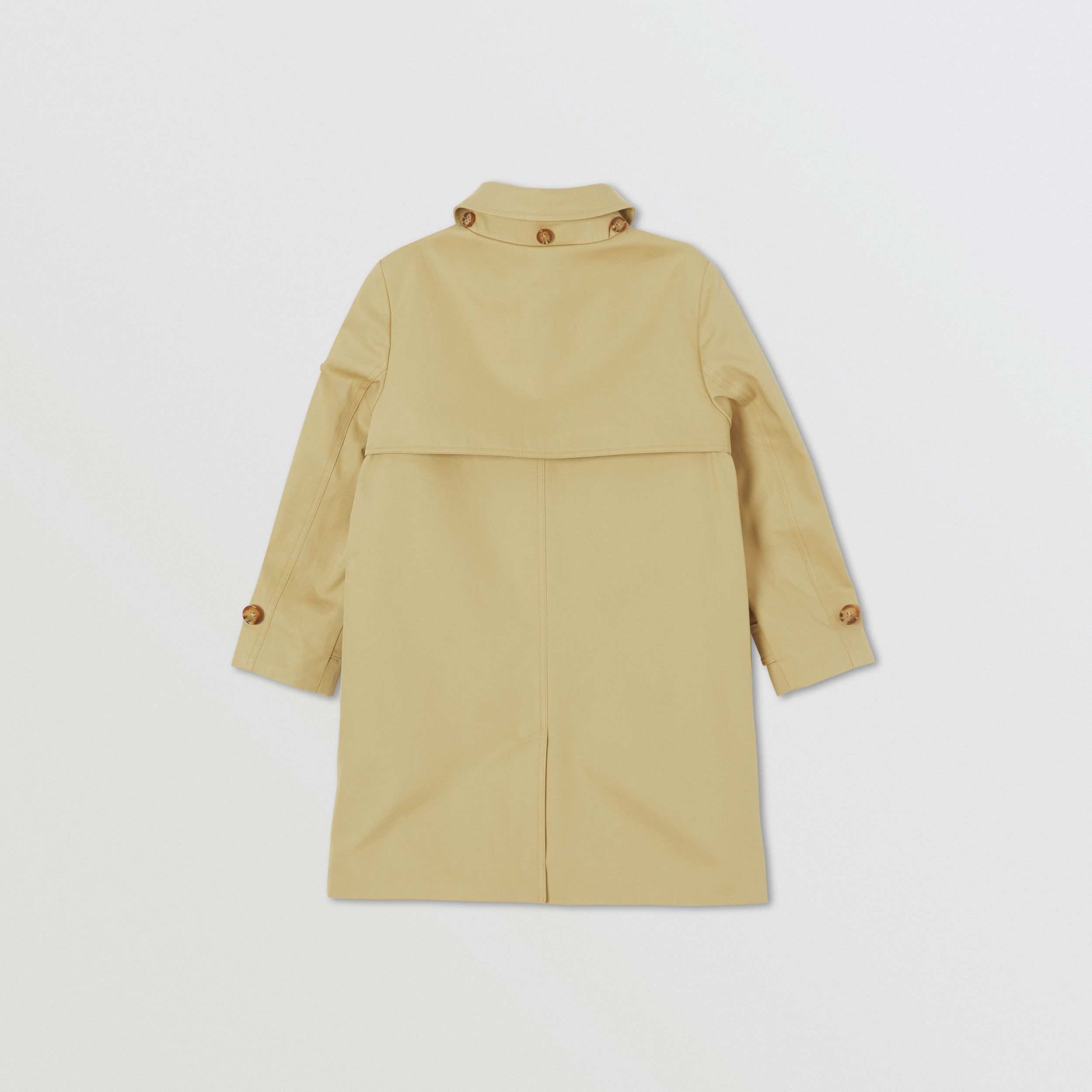 Detachable Hood Icon Stripe Trim Cotton Car Coat in Honey | Burberry - 4