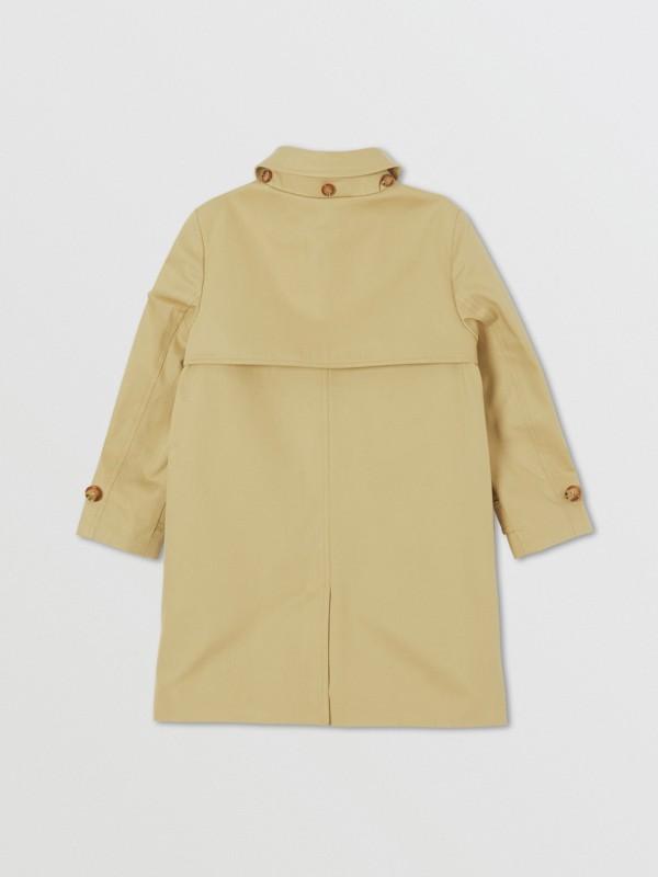 Detachable Hood Icon Stripe Trim Cotton Car Coat in Honey | Burberry - cell image 3