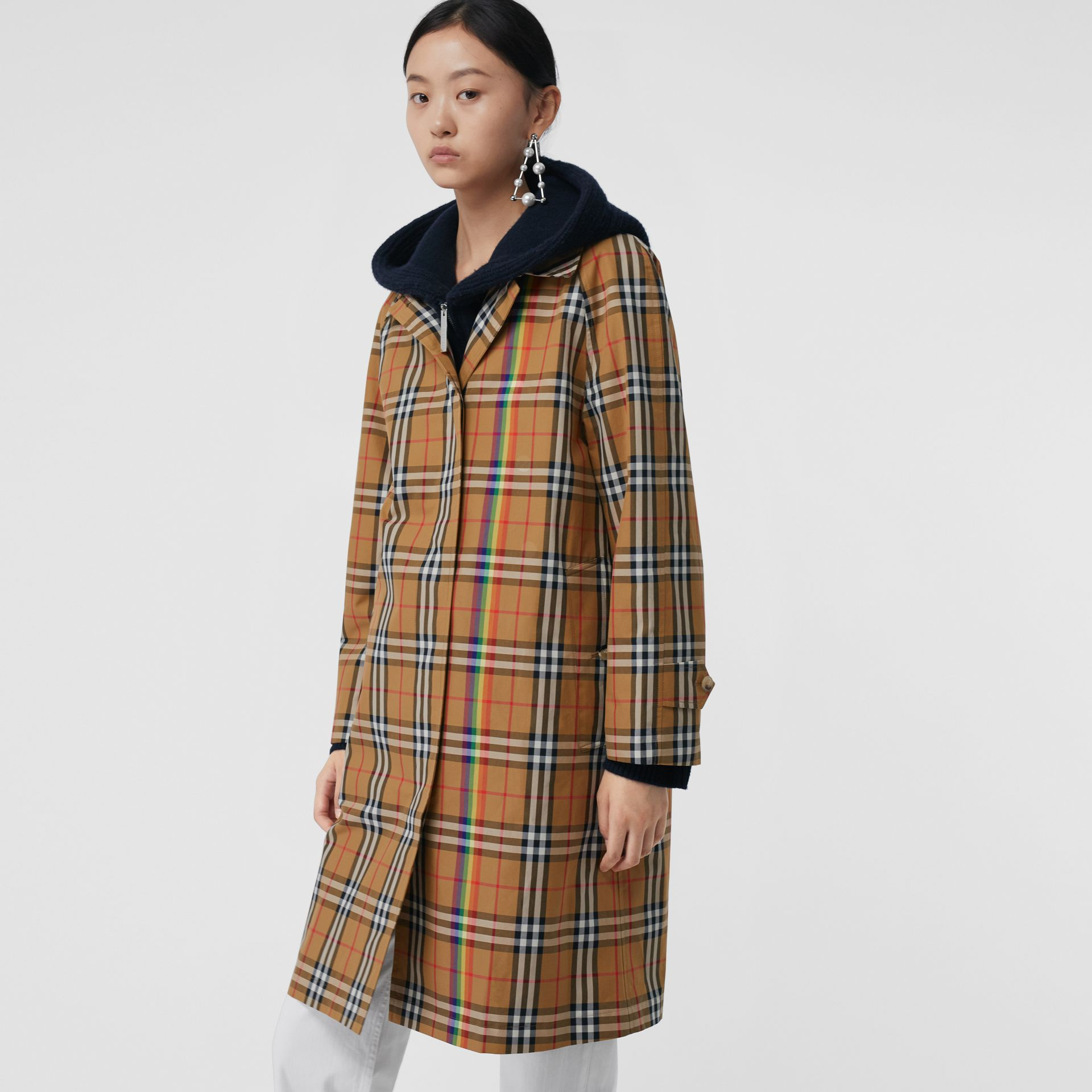 Rainbow Vintage Check Car Coat in Multicolour - Women | Burberry - gallery image 5