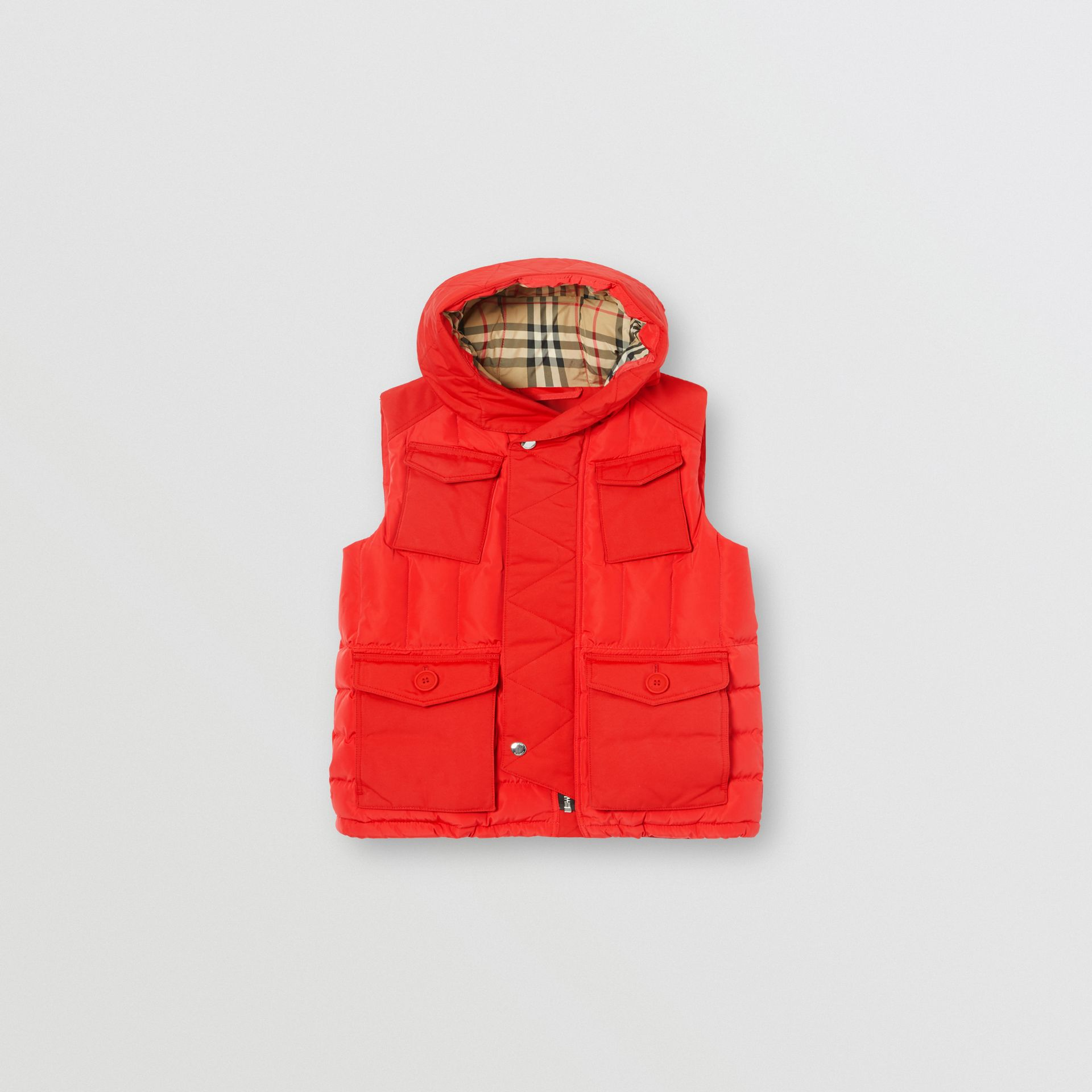 Down-filled Hooded Puffer Gilet in Bright Red | Burberry - gallery image 0