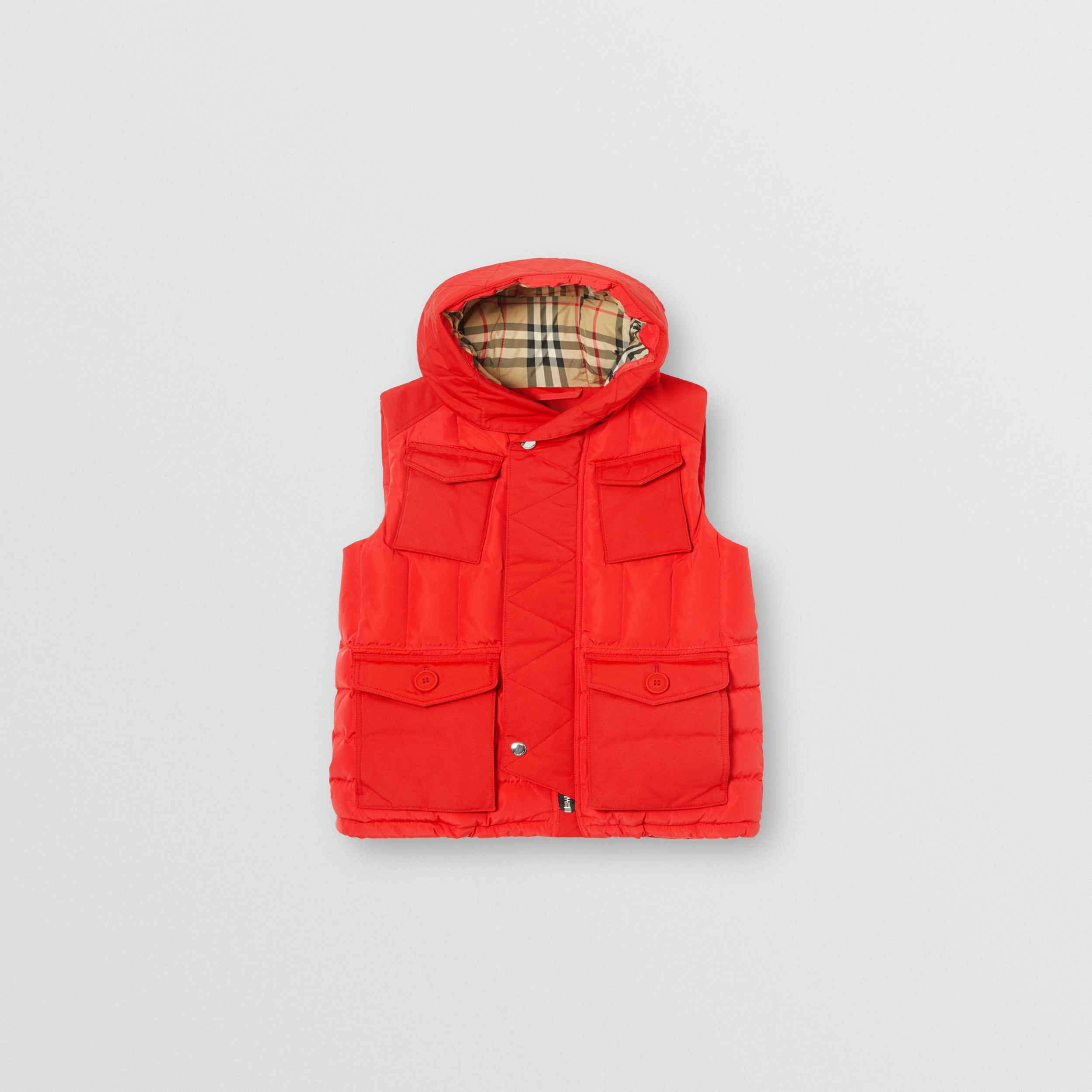 Down-filled Hooded Puffer Gilet in Bright Red | Burberry - 1