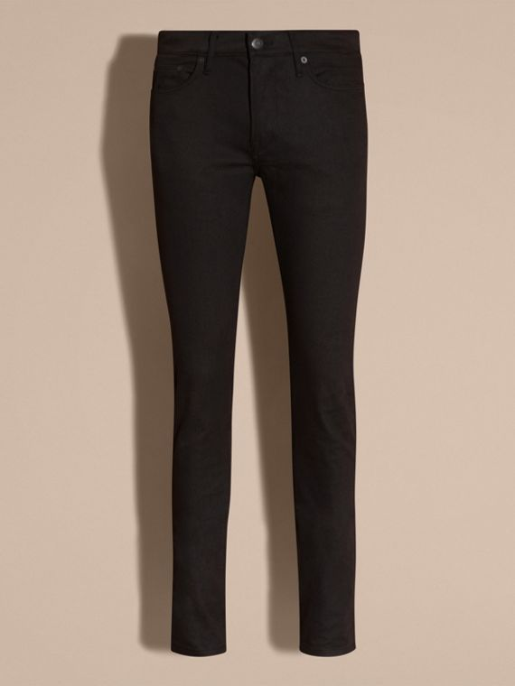 Black Slim Fit Unwashed Stretch Denim Jeans - cell image 3