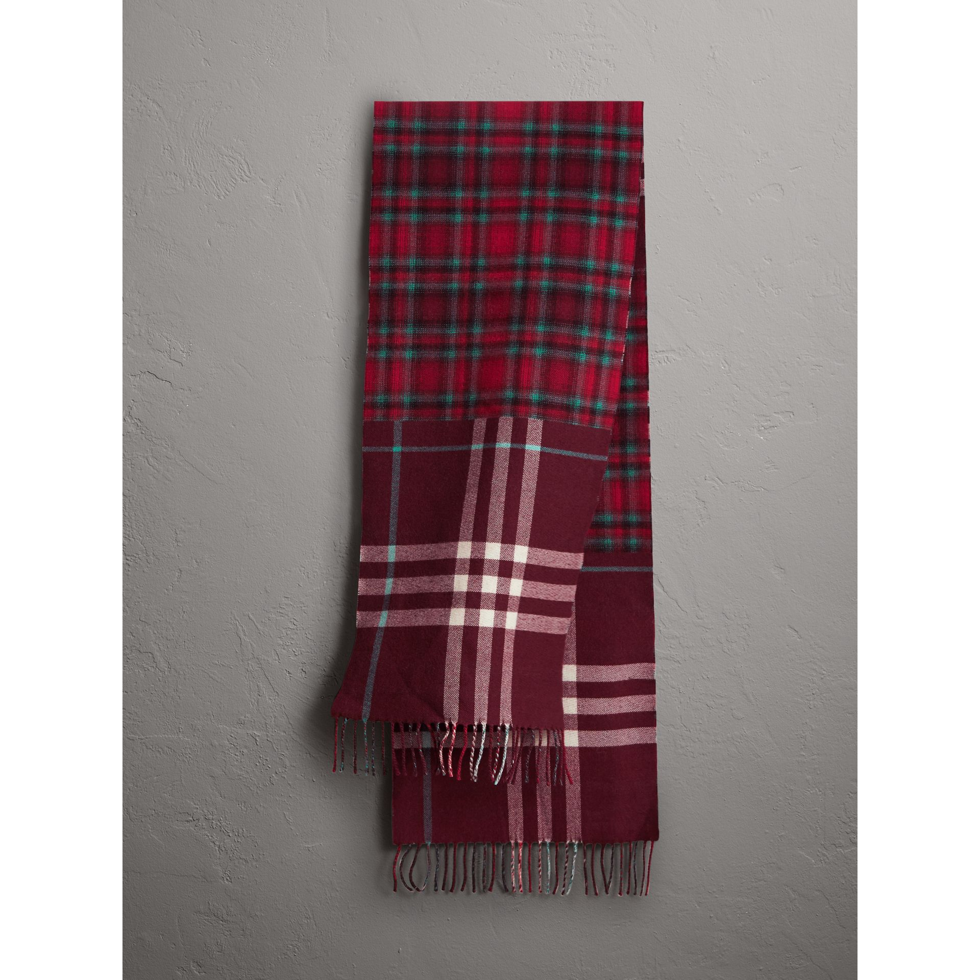 Check Merino Wool Scarf in Claret | Burberry - gallery image 1