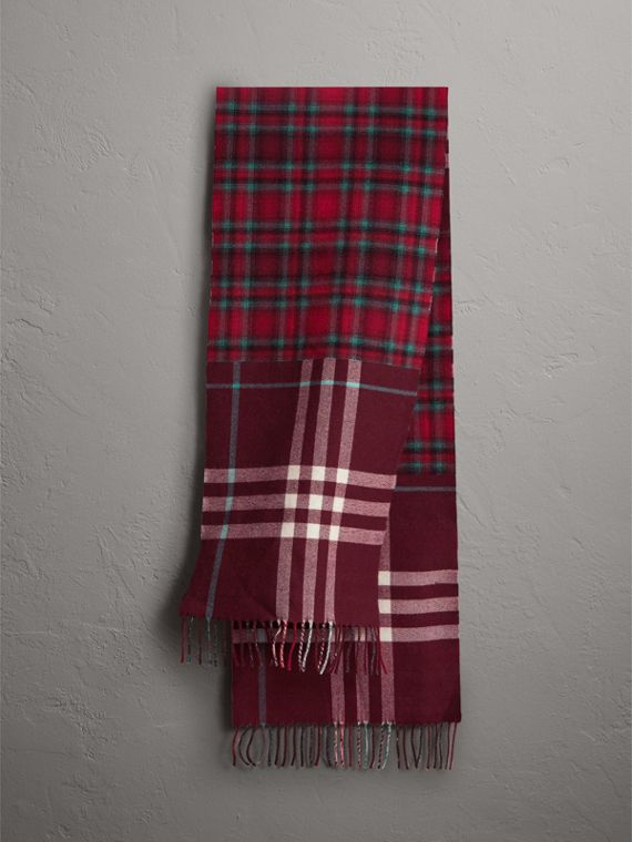 Check Merino Wool Scarf in Claret