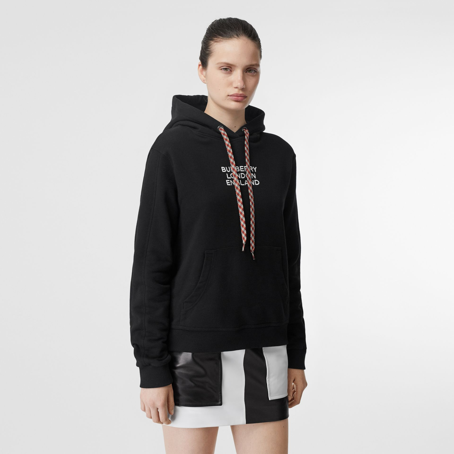 Embroidered Logo Cotton Oversized Hoodie in Black - Women | Burberry - gallery image 4